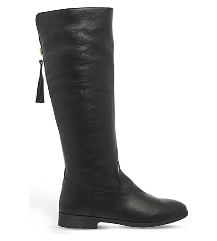 OFFICE Ecru leather boots (Black+leather