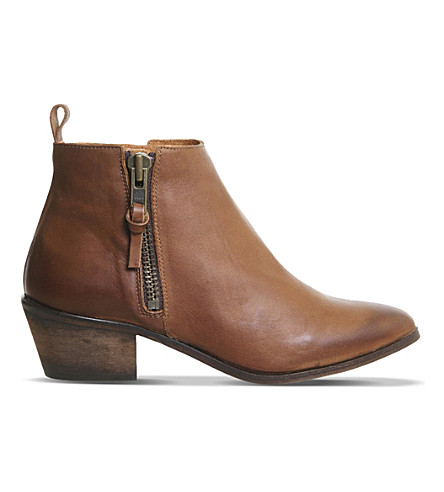 OFFICE Imposter leather ankle boots (Tan+leather