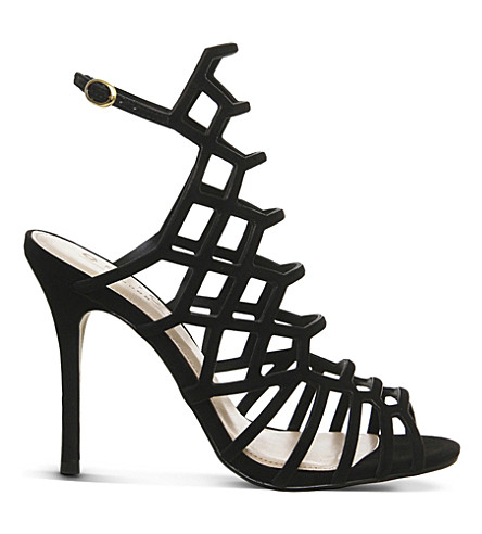 OFFICE Trance caged suede sandals (Black+nubuck