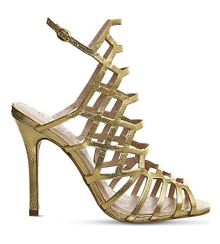 OFFICE Trance caged sandals (Gold+leather