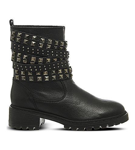 OFFICE Ignition leather biker boots (Black leather