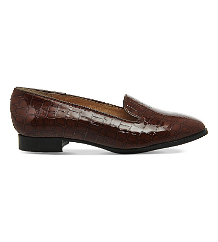 OFFICE Rita crocodile-embossed patent-leather slippers (Brown+patent+leather