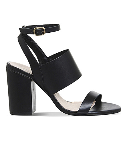 OFFICE Time 3 leather heeled sandals (All black leather