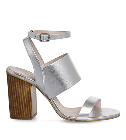 OFFICE Time 3 strap metallic-leather heeled sandals (Silver leather