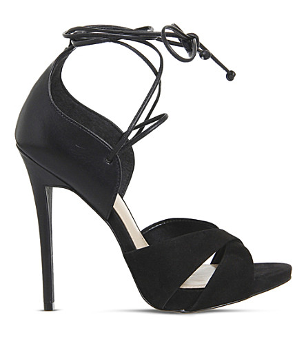 OFFICE Ascend multi-tie leather heeled sandals (Black leather