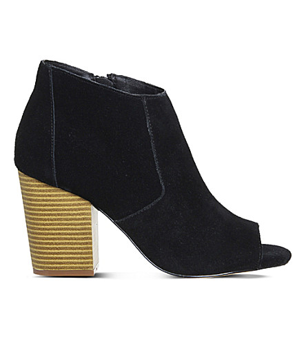 OFFICE Jasmine suede peep-toe ankle boots (Black suede