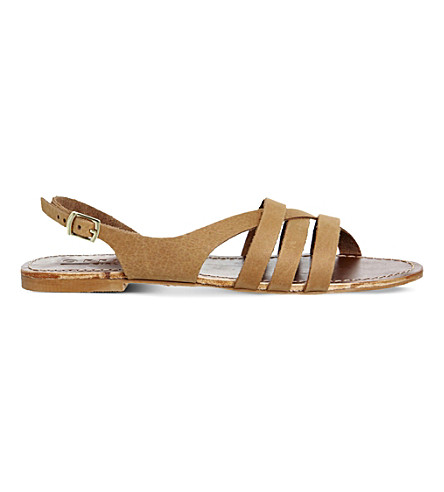 ... OFFICE Bamboo leather strappy flat sandals (Tan+leather. PreviousNext