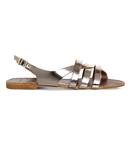 OFFICE Bamboo metallic-leather strappy flat sandals