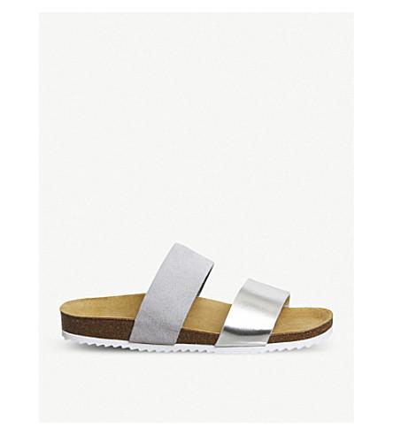 OFFICE Oslo 2 suede metallic slider sandals (Grey+suede+silver