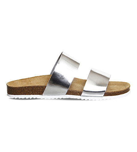 OFFICE Oslo 2 metallic-pu sliders (Silver