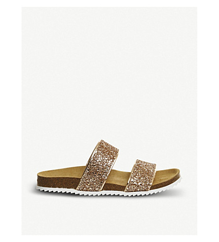 OFFICE Oslo 2 glitter slider sandals (Rose gold glitter