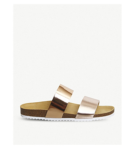 OFFICE Oslo 2 two-tone metallic slider sandals (Rose+gold+mix