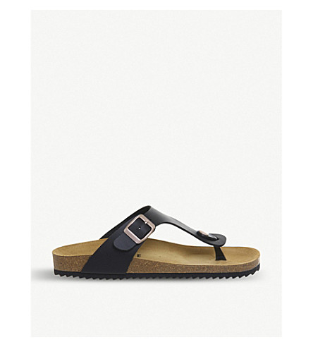 OFFICE Identity 2 backless faux-leather sandals (Black+rose+gold