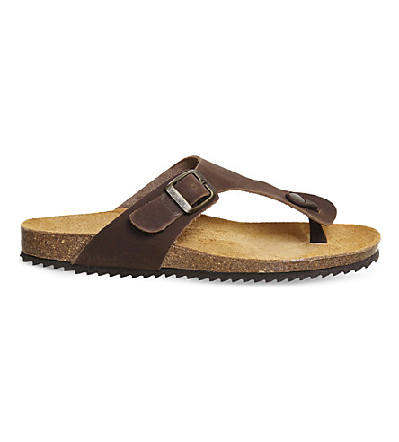 OFFICE Identity 2 leather flat sandals (Brown+leather