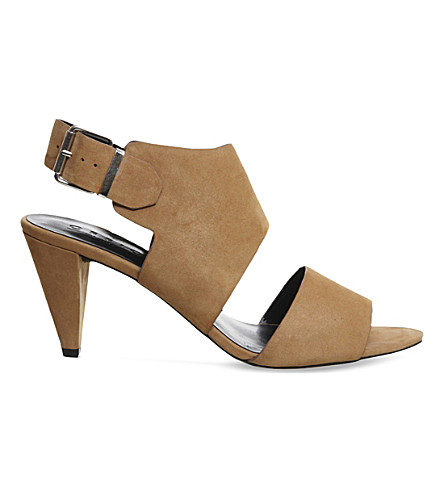 OFFICE Minimal leather cone heeled sandals (Tan-nubuck