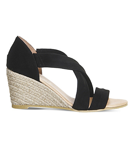 OFFICE Maiden cross strap wedges (Black+suede
