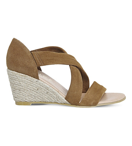 OFFICE Maiden suede wedge espadrille sandals (Camel+suede