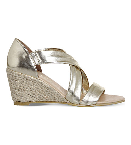 OFFICE Maiden suede wedge espadrille sandals (Gold+leather