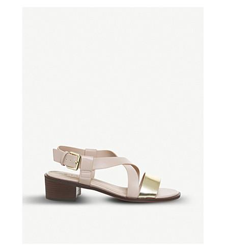 OFFICE Midtown cross-over block heel sandals (Nude++gold