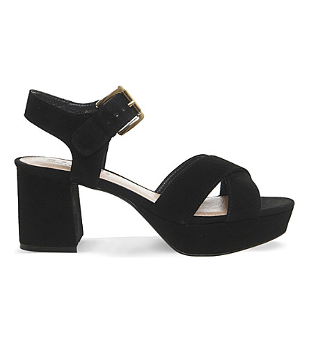 OFFICE Montana suede platform sandals (Black+suede