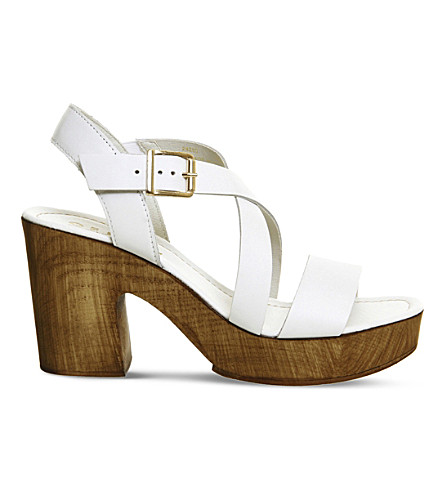 OFFICE Michigan leather cross-strap heeled sandals (White+leather