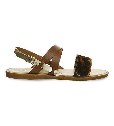OFFICE Bali leather and cowhair sandals (Tan leather leopard