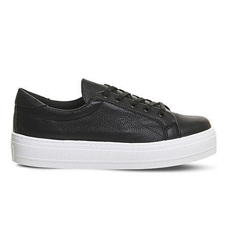OFFICE Diva flatform lace-up trainers (Black tumbled white