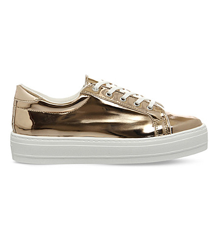 OFFICE Diva metallic flatform trainers (Rose gold