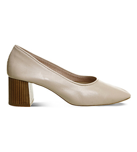 OFFICE Mia leather heeled ballet shoes (Nude+leather