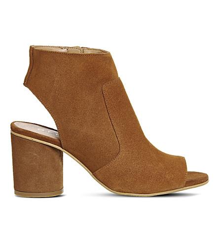 OFFICE Marley suede peep-toe shoe boots (Tan suede