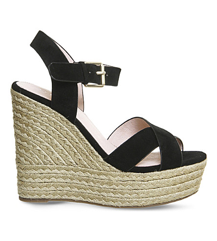 OFFICE Ahoy suede wedge sandals (Black+suede