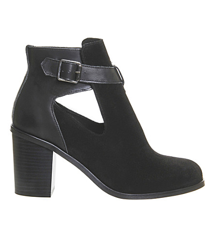 OFFICE Jade suede cutout heeled ankle boots (Black suede leather