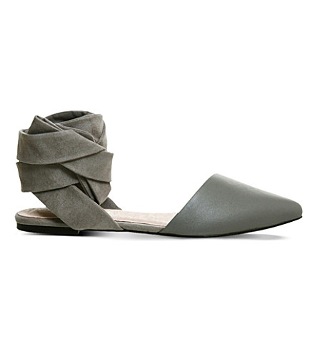 OFFICE Dani suede and leather pointed-toe flats (Grey-leather