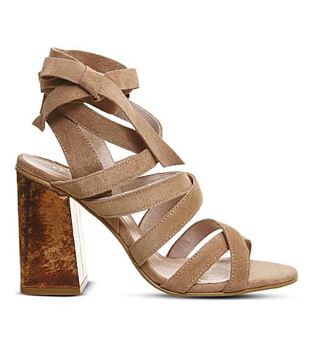 OFFICE Ashley suede heeled sandals (Pink suede metal
