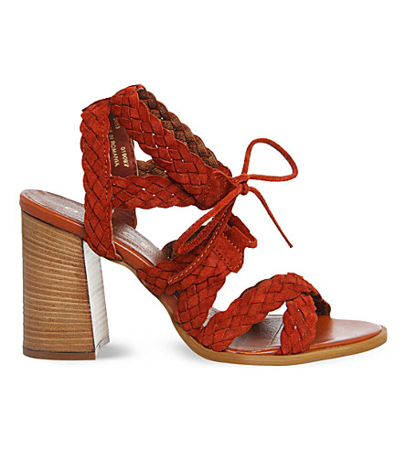 OFFICE Axis suede plait heeled sandals (Rust suede