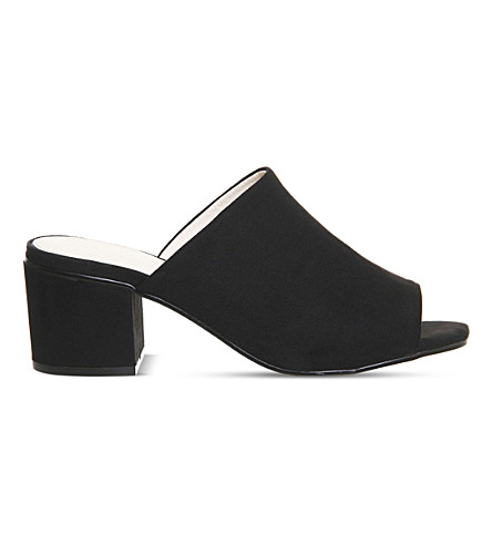 OFFICE Madness block heel suede mule sandals (Black