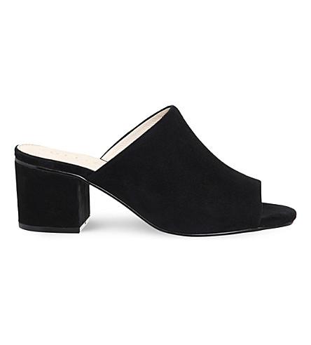 OFFICE Madness block heel suede mule sandals (Black suede