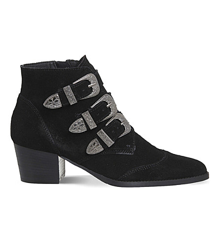 OFFICE Jagger suede buckled ankle boots (Black suede