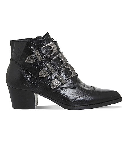 OFFICE Jagger crocodile-embossed leather ankle boots (Black leather