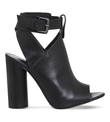 OFFICE Natasha leather cylindrical heel sandals (Black+leather