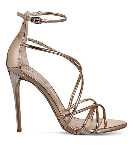 OFFICE Angel metallic heeled sandals (Rose+gold+mirror