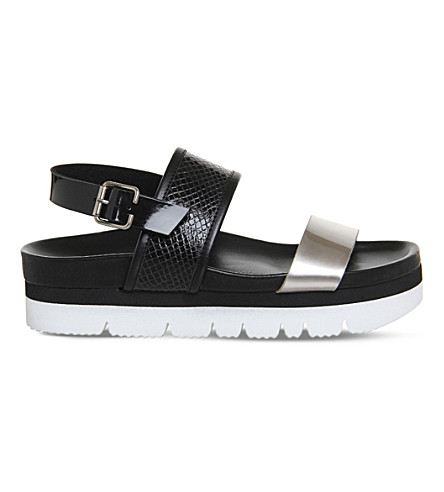 OFFICE Milan snake-effect flatform sandals (Black snake metallic