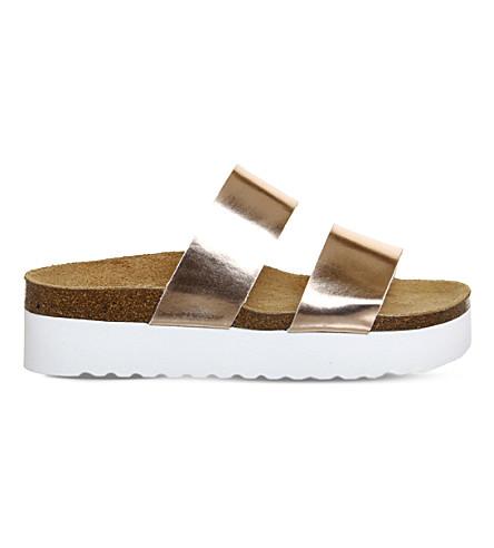 OFFICE Magnetic flatform sandals (Rose gold