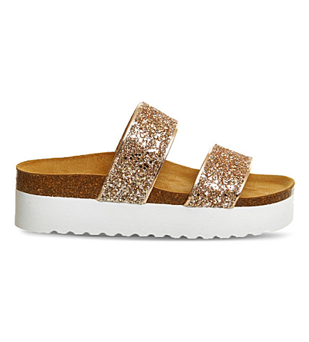 OFFICE Magnetic glitter flatform sandals (Rose gold glitter