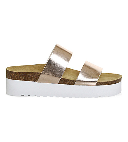 OFFICE Magnetic double strap flatform sandals (Rose+gold+shimmer