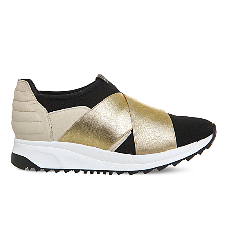 OKI KUTSU Sakura cross strap neoprene trainers (Black+ivory+gold