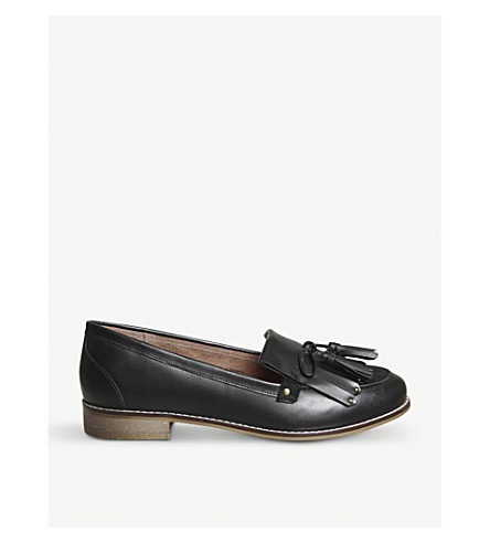OFFICE Penny tassel leather loafers (Black+leather+suede