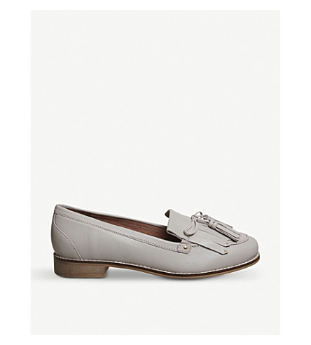OFFICE Penny tassel leather loafers (Grey+leather+suede