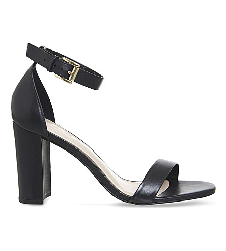 OFFICE Nina block heel leather sandals (Black+leather