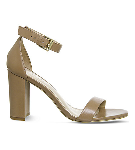 OFFICE Nina block heel leather sandals (Nude+leather